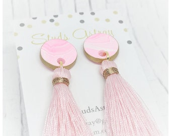 Pink tassel earrings pink dangly earrings lightweight earrings stud earrings nickel free earrings large tassel earrings bubblegum pink
