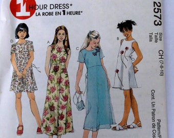 Mccalls 2573 Girl Dress Pattern in Two Lengths -Size 7,8,10, Sew a Dress in 1 Hour, Uncut Pattern