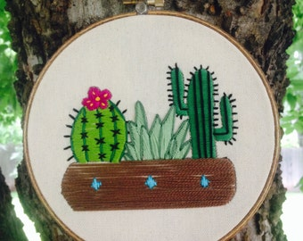 Succulent and cactus embroidery hoop wall art