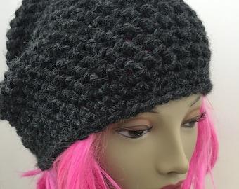 Chunky Knit Hat Warm Slouchy Pom Pom in Charcoal Grey