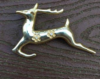 Vintage Jewelry Christmas Leaping Reindeer Pin Brooch