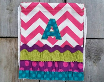 Custom TODDLER Size PINK Chevron Drawstring Backpack with Monogram