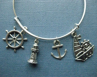 Nautical Bangle - Nautical Charm Bracelet - Nautical Jewelry - Charm Bracelet - Bangle -- B131