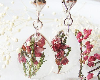 Resin Earrings Heather Earrings Real Flower Earrings Resin Jewelry Teardrop Dangle Earrings Gift For Her