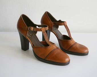 T-Strap Leather Heels 7.5