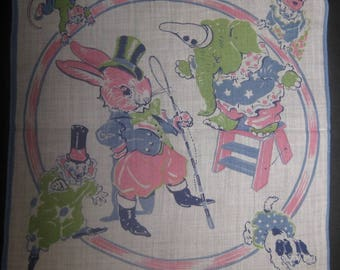 Vintage Pink Rabbit and Green Elephant Circus Handkerchief, Hanky