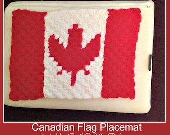 C2C Graph, Canadian Flag Placemat , C2C Graph,  Written Word Chart, Canadian flag graph, flag c2c, c2c placemat