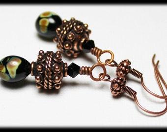 Sandalwood... Handmade Jewelry Earrings Beaded Lampwork Black Crystal Raku Boho Purple Sage Green Amber Antique Bali Copper Dangle