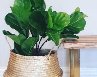 Large Seagrass Basket, Dipped Metallic  Gold Panier Boule Nursery Storage Handwoven Dyed
