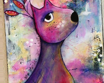 Fantasy Woodland Deer  Original Mixed Media Art Original Acrylic Painting On 11 x 14 Canvas By Charlotte Littlejohn