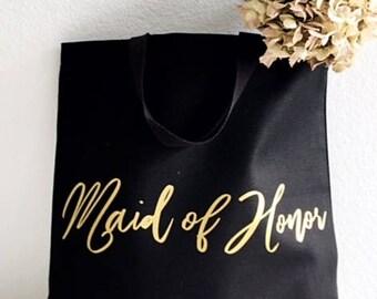 Bride gift tote - Gold foil - Bride gift - Black tote