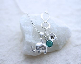 STERLING Silver Elephant Necklace with Sterling Silver Infinity, elephant with or without personalized charms. Elephant, MonyArt original