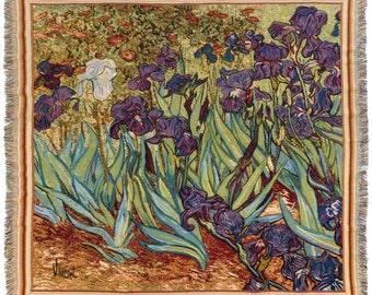 Van Gogh Throw Blanket - Irises Tapestry Throw - 56x56 Belgian Tapestry Throw - Van Gogh Design Throw Blanket - TT-7152