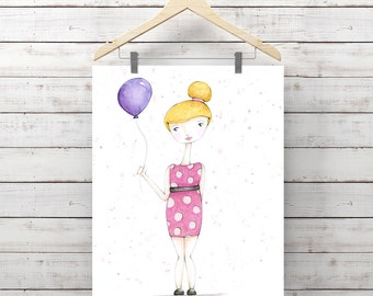 Birthday Girl Watercolor Print - Girl with Balloon - Original Watercolor Art by Angela Weber - Giclee Art Print