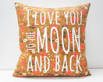 Pillow Cover - I love you to the moon and back Pillow Cover, 20x20, brown, green, coral vintage floral