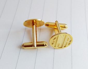 Wedding Cufflinks,Groom Wedding Gift,Personalized Monogram Cufflinks,Gold Men CuffLinks,Engraved Monogram CuffLinks,Gift for Fathers Day