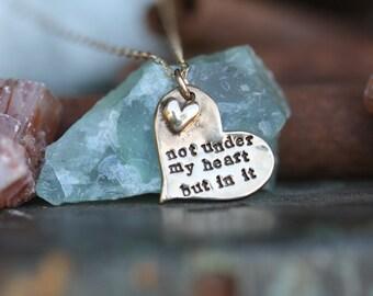 adoption necklace.............hand cast fine Bronze adoption quote mothers necklace