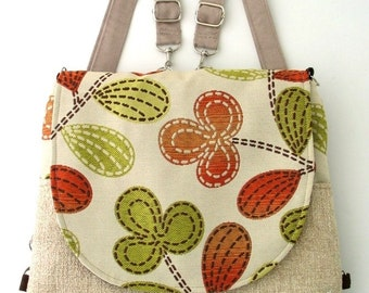 womens messenger bag, crossbody bag, messenger backpack , sling bag, cross shoulder bag, zipper bag, floral bag, fit ipad