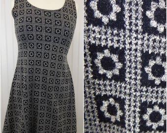90s Grunge Black/Gray Flower Dress by Joule