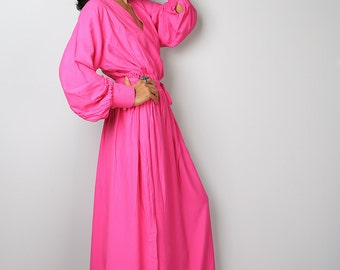 Pink Dress - Maxi Dress  With Long Sleeves- Elegant Pink Maxi Dress : Joy of Spring Collection No.2
