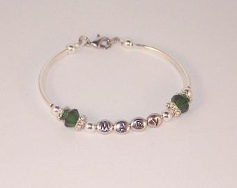 Personalized Emerald Swarovski Crystal Birthstone Bracelet - Shown with May Birthstone