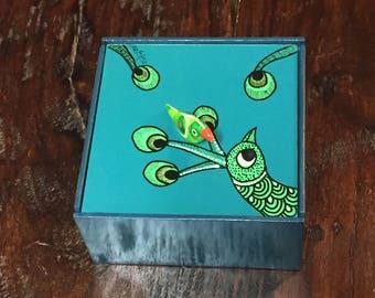 Madhubani square small grooved box
