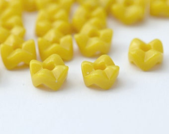 Vintage German Glass Yellow Wavy Stacking Round Beads 8mm (20)