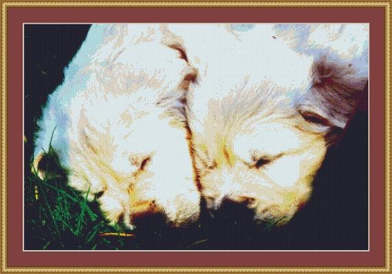 Golden Retriever Puppies Asleep Cross Stitch Pattern /Digital PDF Files /Instant downloadable