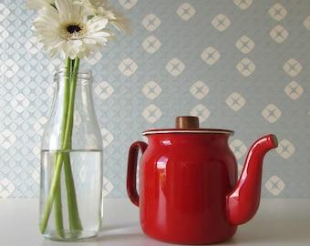 Vintage Red Enamel Tea Pot 17097