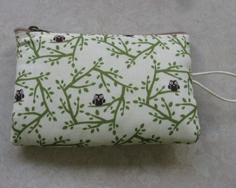 owl and branch print padded makeup jewelry bag