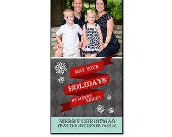Christmas Card Template - SNOW BANNER - 4x8 Single Sided Card Template