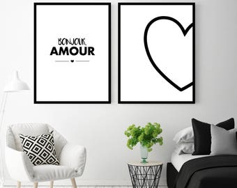 """Poster """"Hello love"""" decorative duo / / MOO'NJOY / / A4 / A3 / A2"""