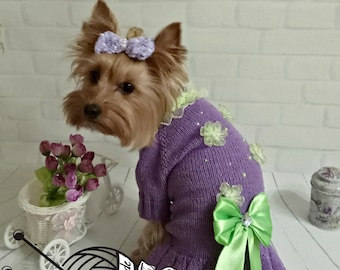Dog Dress Beautiful Puppy Dress Knitted Dog Dress Dog