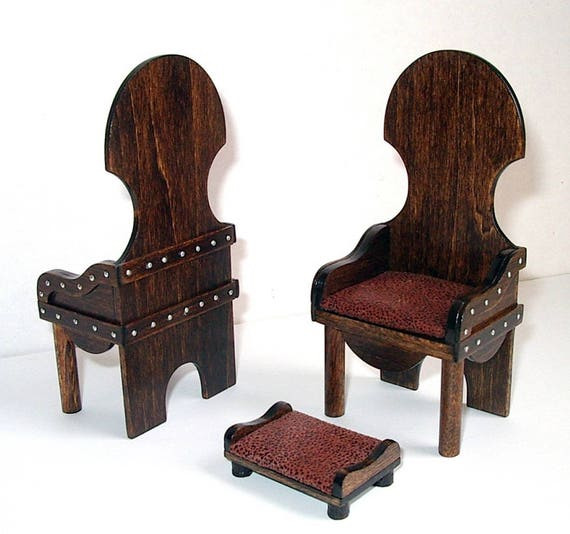 Charmant 2 Rustic Medieval Chairs U0026 Footstool Set Of Chairs Dollhouse