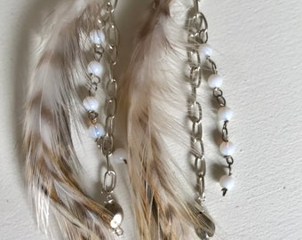 Feathers and charm earrings
