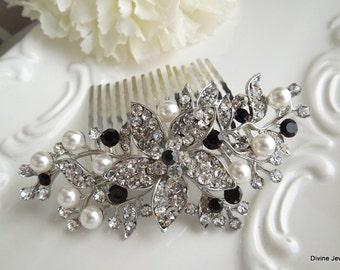 bridal hair comb pearl hair comb swarovski crystal hair comb rhinestone hair comb wedding hair comb vintage style black hair comb KATY