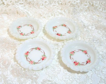 Milk Glass Coasters Hand Painted Roses, Set of Four