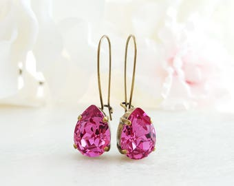 Swarovski Teardrop Earrings - Pink Crystal Earrings - Fuchsia Earrings - Hot Pink Earrings For Her - Dark Pink Earrings Tear Drop E3949