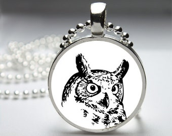 Black & White Owl Illustration Pendant Necklace with Silver Ball or Snake Chain Necklace or Key Ring