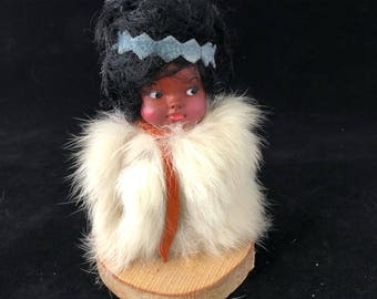 Carlson Collectible Souvenir Doll Eskimo Vintage 1960s Wood Base