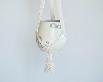 Macrame Planter. Hanging Planter. Hanging Pot. Macrame. Planter. Pottery. Ceramic Planter. Mid-century Modern. Brandy. White.