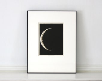 Rare antique Astronomy Print Published 1892 Framed Moon Chromolithograph  11 x 14 inches