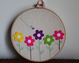 "Handmade 7"" Hoop - Flower Button Hoop Art"