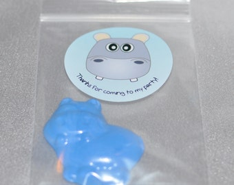 Hippo Party Favor Crayons And Stickers /20 Hippo Stickers and 20 Hippo Crayons