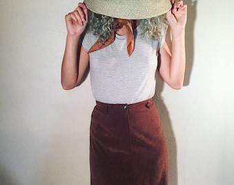 Vintage Faux Suede Long Skirt