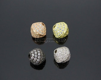 Clear Zircon Gemstones Pave Bicone 10mm Bracelet Connector Charm Beads Silver Gold Rose Gold Gunmetal
