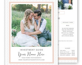 Photography Price List Template, Photography Pricing Guide, Photography Sell Sheet, Photoshop Template - Wedding Pricing Template