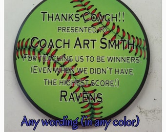 Softball plaque trophy award plaque fast pitch softball customize it with your words in any color