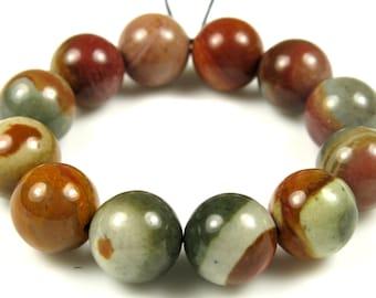 Lovely Delightful Polychrome Jasper Round Beads - 10mm - 12 beads - B5641