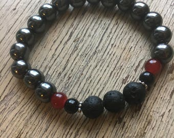 Lava Stone and Hematite Essential Oil stretch Bracelet // Yoga // Aromatherapy